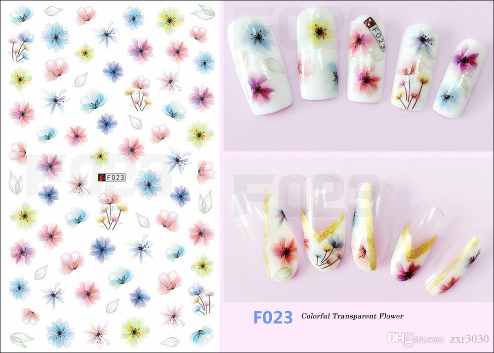 1 Feuille Feuille De Fleur Série 3d Nail Autocollants Stickers Floral / Licorne Adhésif Manucure Autocollants Charme Nail Art Décoration