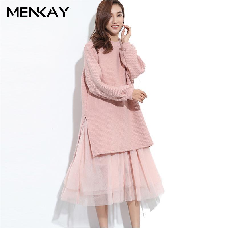 Compre menkay 2018 Primavera Coreana Moda Nueva Floja Falsa Dos ...
