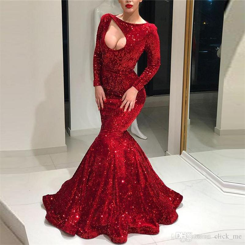 Stunning Dark Red Sequined Prom Dresses 2018 Sexy Long Sleeves Mermaid Evening  Gowns Zipper Back Shinning Celebrity Party Dress Prom Dresses Under 150 Prom  ... f98ed26a747d