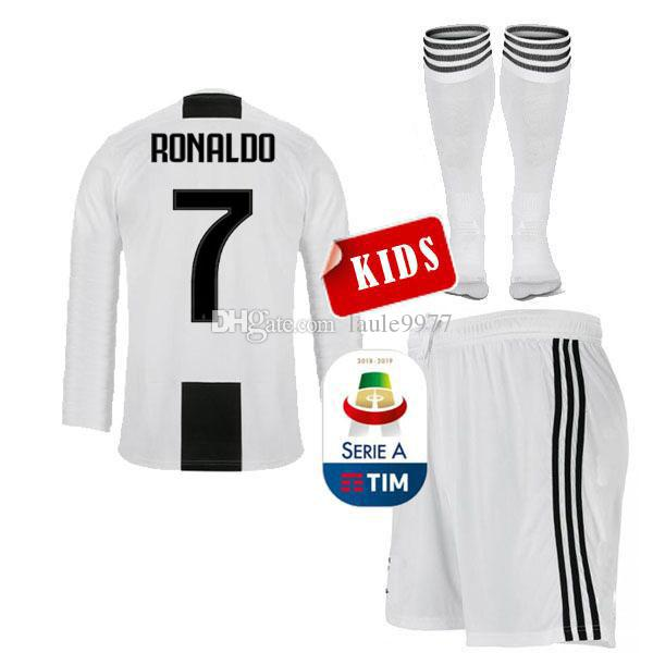 Long kids Juventus home Soccer Jerseys 18 19 #7 RONALDO child soccer Shirts 2019 lady Football uniforms #10 DYBALA young jersey