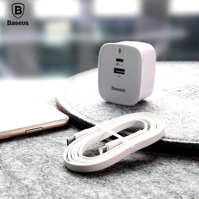 online retailer 19cf0 bbc0a Baseus Type C PD Quick Charger Set For iPhone X 28W UK Plug Adapter 1M USB  C To Lighting Cable Fast Charger For iPhone 8 8 Plus