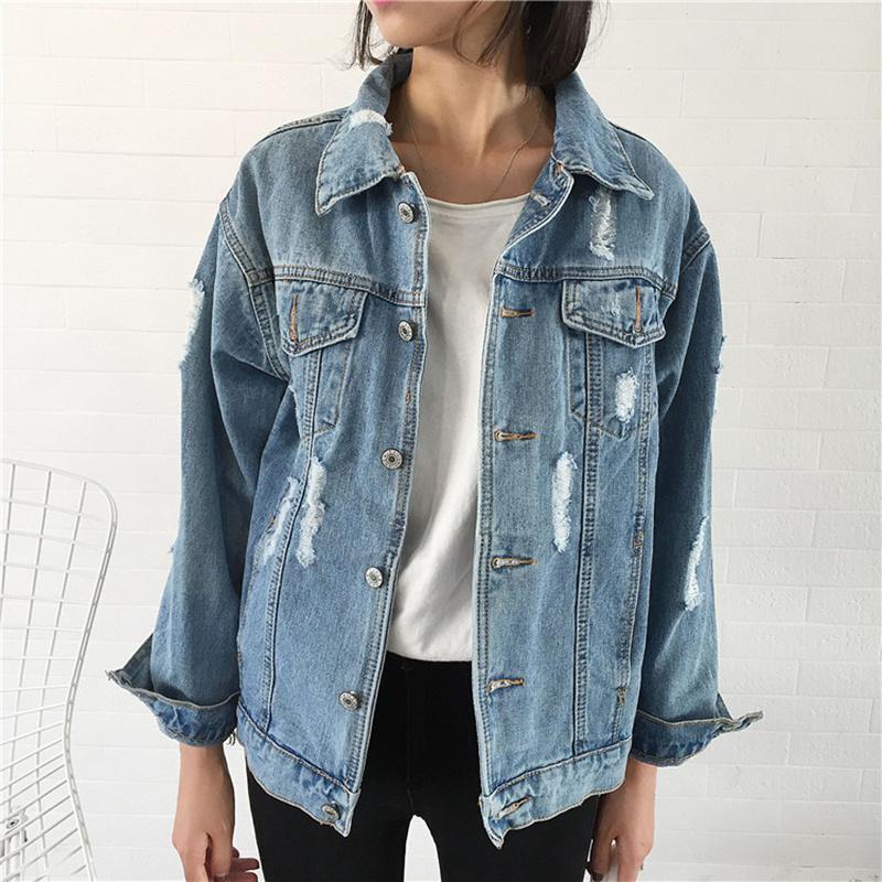 Compre Chaqueta De Mezclilla Desgastada Lavada Suelta Para Mujer Chaqueta  De Jeans Chaqueta De Moda Primavera Vintage Femenil Spring 2018 Jeans Coat  ... dce922b427b6