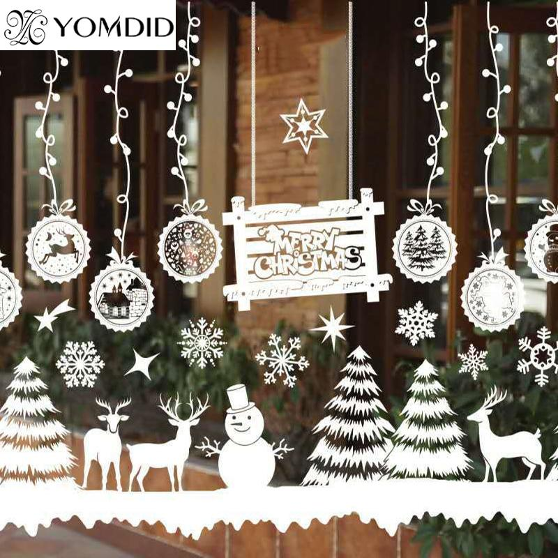 merry christmas window decorations santa claus deer snowman snowflakes bells christmas decals ner year enfeites de natal christmas home decor christmas home - Christmas Window Decorations