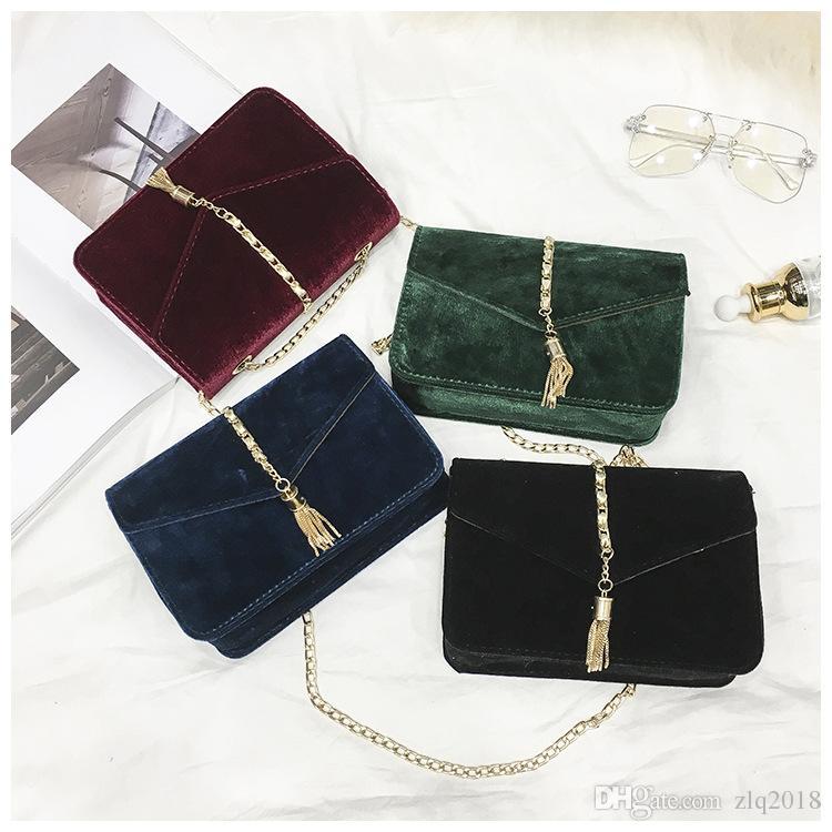 30fbf7c933ef Retro Gold Velvet Crossbody Bag Women Elegant Long Chain Shoulder Bag  Autumn Winter Messenger Bags Female Tote Vintage Handbags Large Wedding  Gift Bags ...