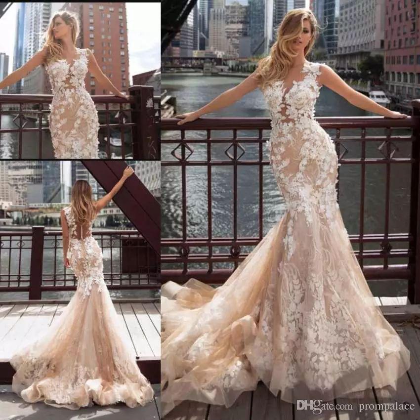 Fashion Design Mermaid Wedding Dresses Full Appliques Illusion Back