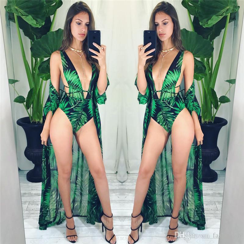 0f3bba8454 2019 2018 Swimwear Long Cover Up Women Robe De Plage Beach Cardigan Cover  Ups Green Leaf Bodysuit Cut Out Bathing Suit Monokini Beachwear From  Fashionsb, ...