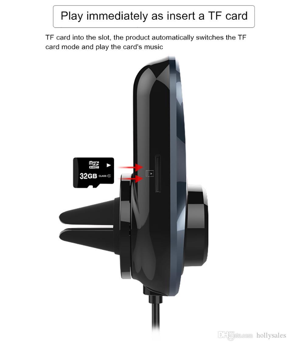Kit caricabatterie rapido BC30 3 in 1 con cavo di ricarica da 1,2 M adatto con presa d'aria Trasmettitore FM vivavoce Lettore musicale MP3 con display a led da 1,4 pollici