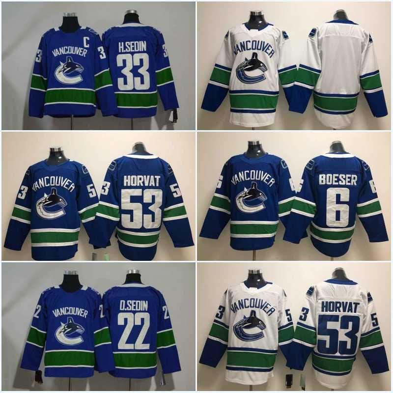 low priced 5cb21 5e149 53 Bo Horvat Jersey New Season 6 Brock Boeser 33 Henrik Sedin 22 Daniel  Sedin 40 Elias Pettersson Vancouver Canucks Jersey Hockey Jerseys