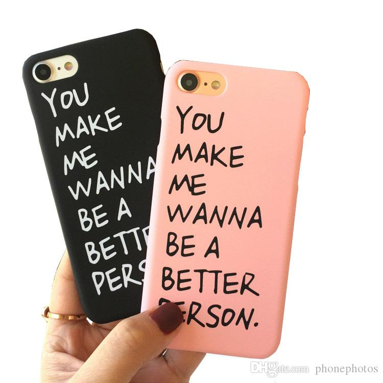 new product 7240a 6ea67 Korean custom English letters romantic couple phone case cover for iphone7  / 6splus phone shell 5s frosted hard shell