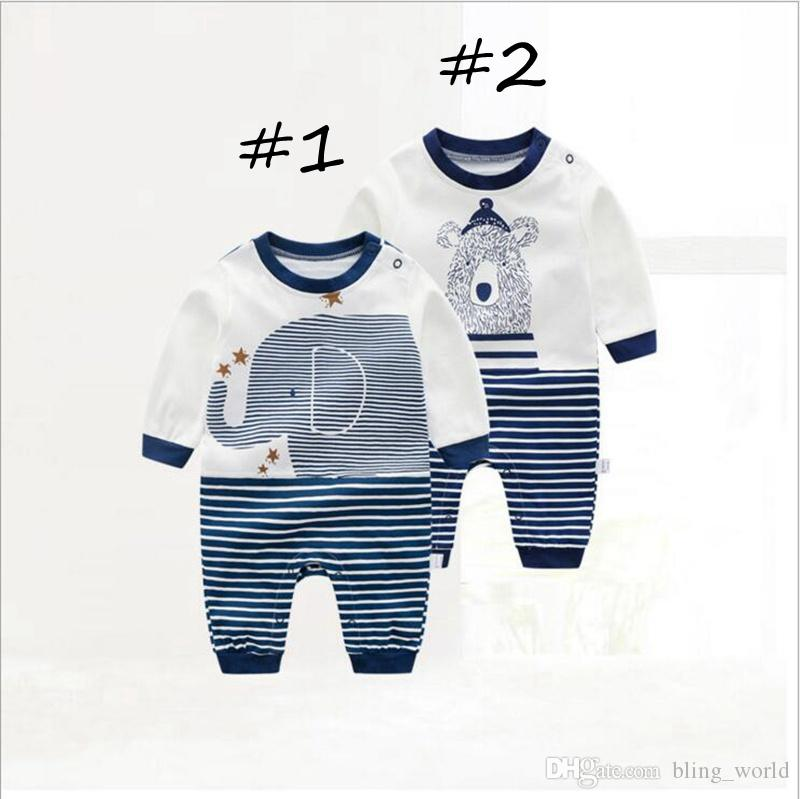 3e6cd84d1 2019 Ins Baby Rompers Animal Printed Romper Long Sleeve Round Neck Collar  Jumpsuits Striated Romper Cartoon Design Jumpsuit Kids Clothes LM79 From ...