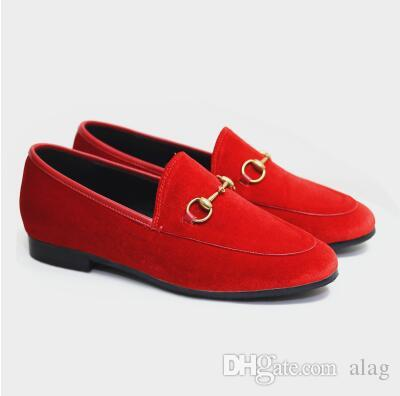 2018 Fashion Brand Womens Velvet Flats Princetown Shoes Round Toe Metal Chain Ladies Loafers Flats Spring Autumn Casual Shoes NXX67