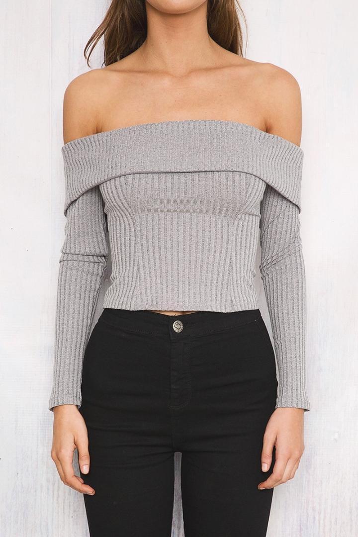 10e662fe830 2019 Women S Off Shoulder Long Sleeve Top Knitted Sweater Women 2018 Winter  Slim Oversized Sweaters Pullovers Autumn From Edwiin04