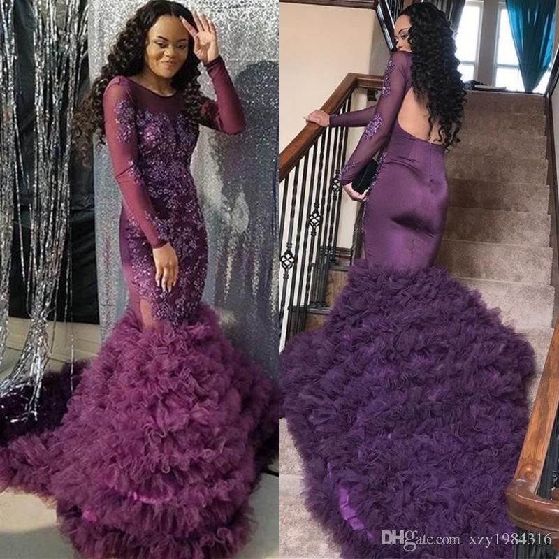 Fashion Dark Purple Prom Dresses Beads Lace Applique Long Sleeves