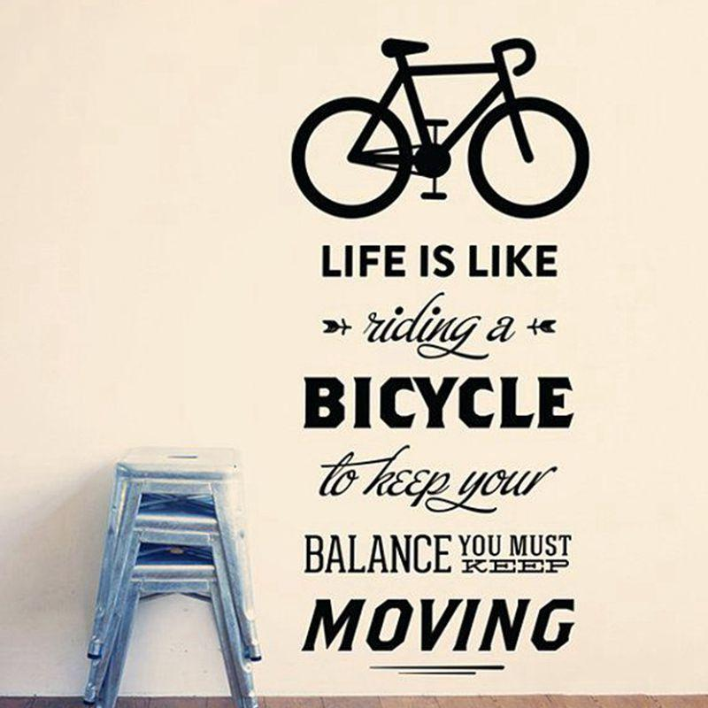 Decal Porcelain Life Is Like Riding A Bicycle Quote Bike Wall ...