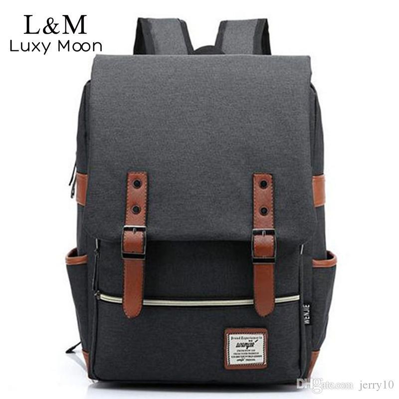 Men Laptop Backpack Canvas Backpacks Large Students School Bags Computer  Notebook Bag Book Packs Travel Rucksack Mochila XA411H Wheeled Backpack  Small ... 21f6e03fa176a
