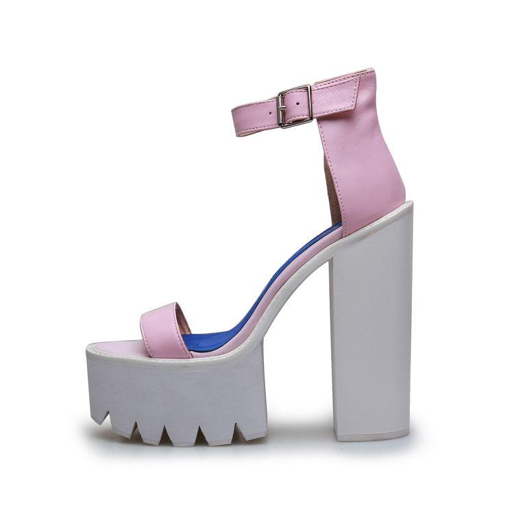 c030ebf1cf3 Women Chunky Heels Sandals Ankle Strap Buckle Thick Heels Sandals 2018 Hot  Selling Summer Dress Shoes Cut Out Platform Pumps Espadrilles Birkenstock  Sandals ...