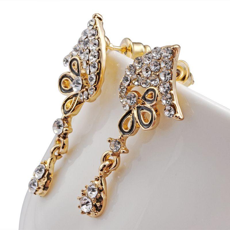 Blumen Schmuck Brautschmuck Sets Strass Party Hochzeit Kostüm Zubehör Golden Plated Kette Halskette Ohrring Set Frauen