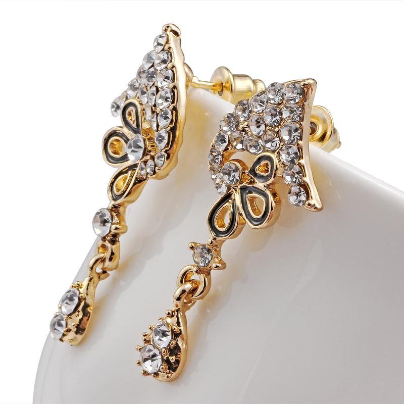 Çiçek Mücevherat Gelin Takı Setleri Rhinestone Parti Düğün Kostüm Aksesuarları Altın Kaplama Zincir Kolye Küpe Seti Kadınlar