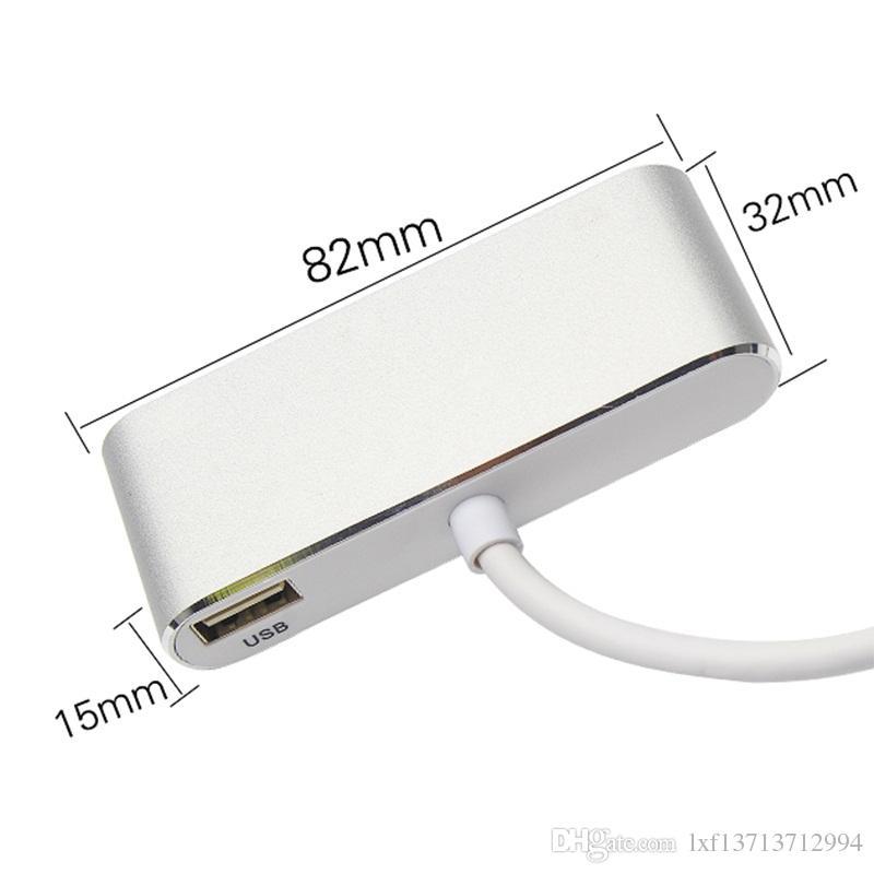 Adaptateur audio USB C Type C vers HDMI VGA 3,5 mm 3 en 1 USB 3.1 Câble de conversion USB-C pour ordinateur portable Macbook Google