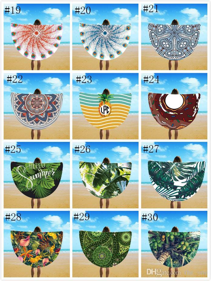 Yeni Stil Güneş Koruyucu Şal İmitasyon İpek Baskı Battaniye Renkli Dairesel Yoga Paspaslar Bikini Eşarp Şal Tatil Plaj Havlusu