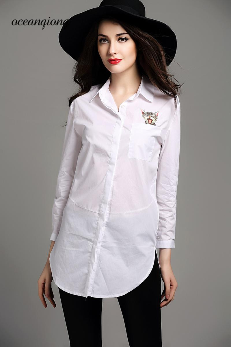Women Shirts Blouse Lady 2018 Spring Work Office Lady Print Cat White Blusas Shirts Women Long Sleeve Casual Tops Polo Collar