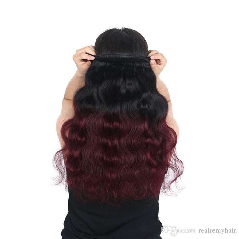 Ombre Brazilian Virgin Hair Weaves Bundles Two Tone 1B/99J Wine Red Brazilian Peruvian Malaysian Body Wave Human Hair Extensions