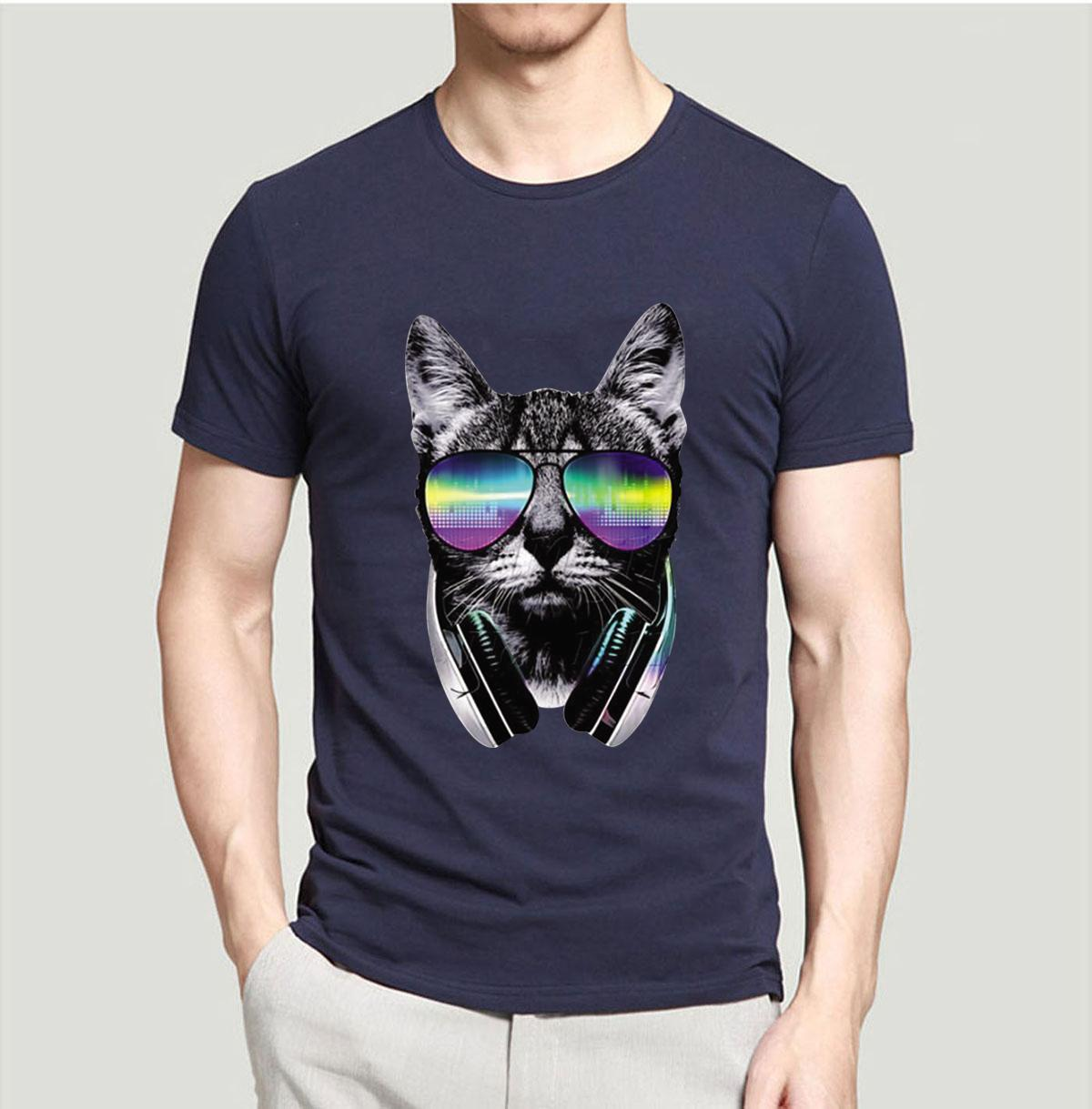 Music Dj Cat Funny T Shirts Unique Design Cool Animal Printed Anime Shirt 2018 Summer T-shirt Men 100% Cotton Brand - Clothing