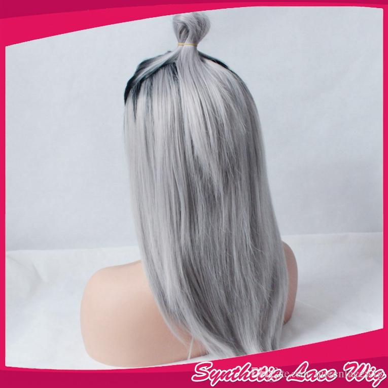 Ombre Gray 2 Tones Synthetic Lace Front Wig Dark Roots Long Natural Straight Silver Grey Synthetic Hair Wigs For Women Heat Resistant Fiber