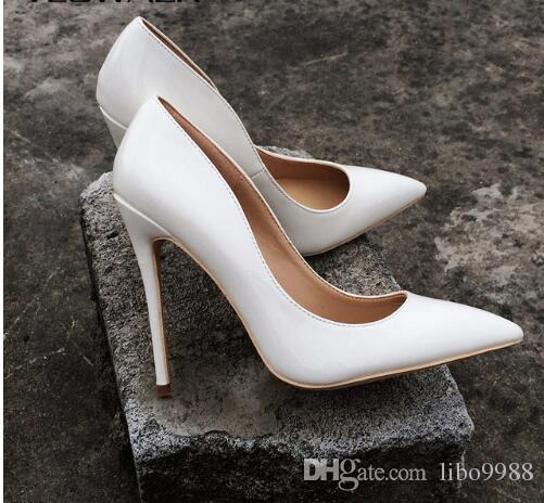 4a2af0ec839 Women Super High Heels Sexy Thin Heels Pumps White Patent Leather Pointed  Toe Party Wdding Stilettos Shoes For Woman High 8cm 10cm 12cm Sexy Shoes  Clogs For ...