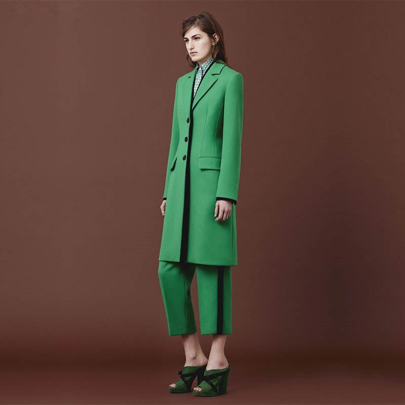 df86c3d88784eb Vert Femmes Pantalon Costumes Automne Élégant Classique Bureau Uniforme  Style Mince 2 Pièce Ensemble Blazer Femelle Longue Veste Dames Pantalon ...