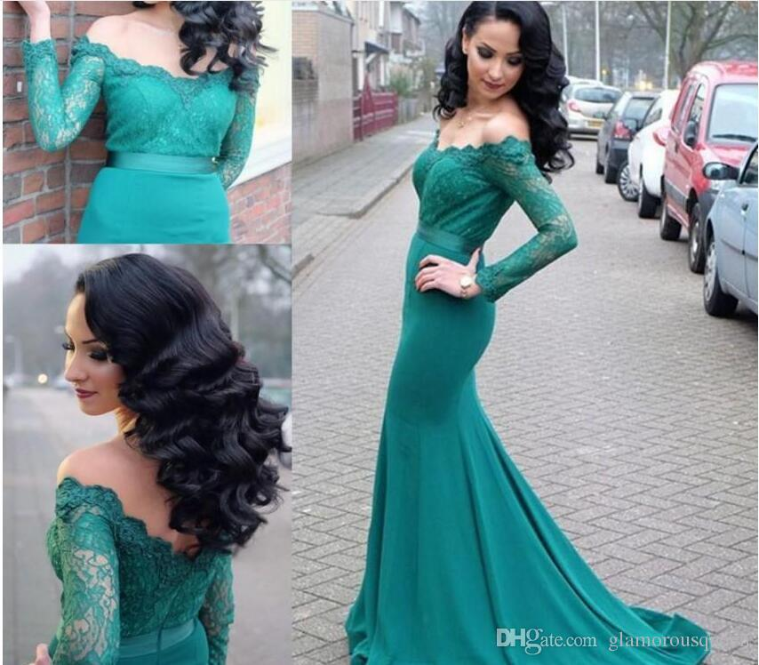Aqua Long Sleeve Prom Dresses