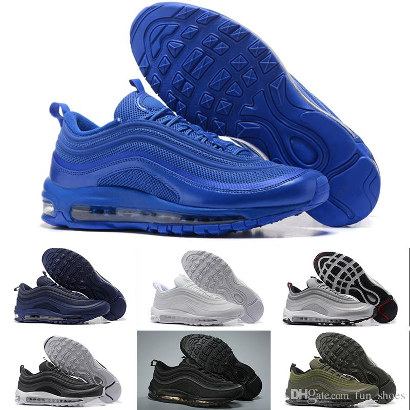Nike Air max 97 designer shoes Brand New 97 Sean Wotherspoon Hombres Zapatos Top 97s Mujeres Vivid Sulphur Multi Yellow Blue Hybrid 36 45