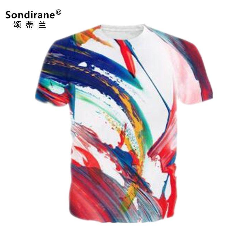 712cab8f89c Sondirane Design Summer Women Men Rainbow Stripe 3D Print T Shirts Casual  Short Sleeve Tee Shirt Fashion Quick Dry Sweat Tops T Shirts Cool Designs  Awesome ...