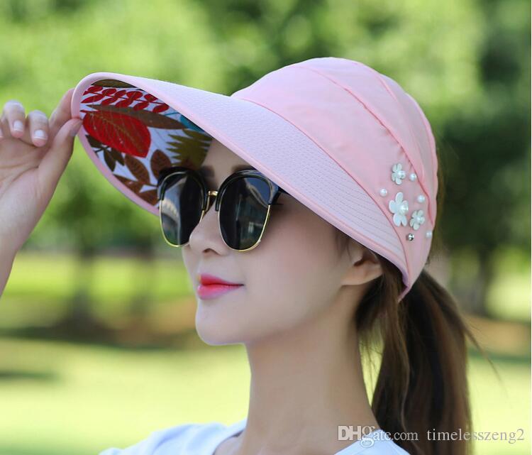 Mulheres verão chapéus de aba larga senhora com pérola flor chapéus de praia dobrável fácil de transportar menina palha chapéu de proteção do sol navio livre