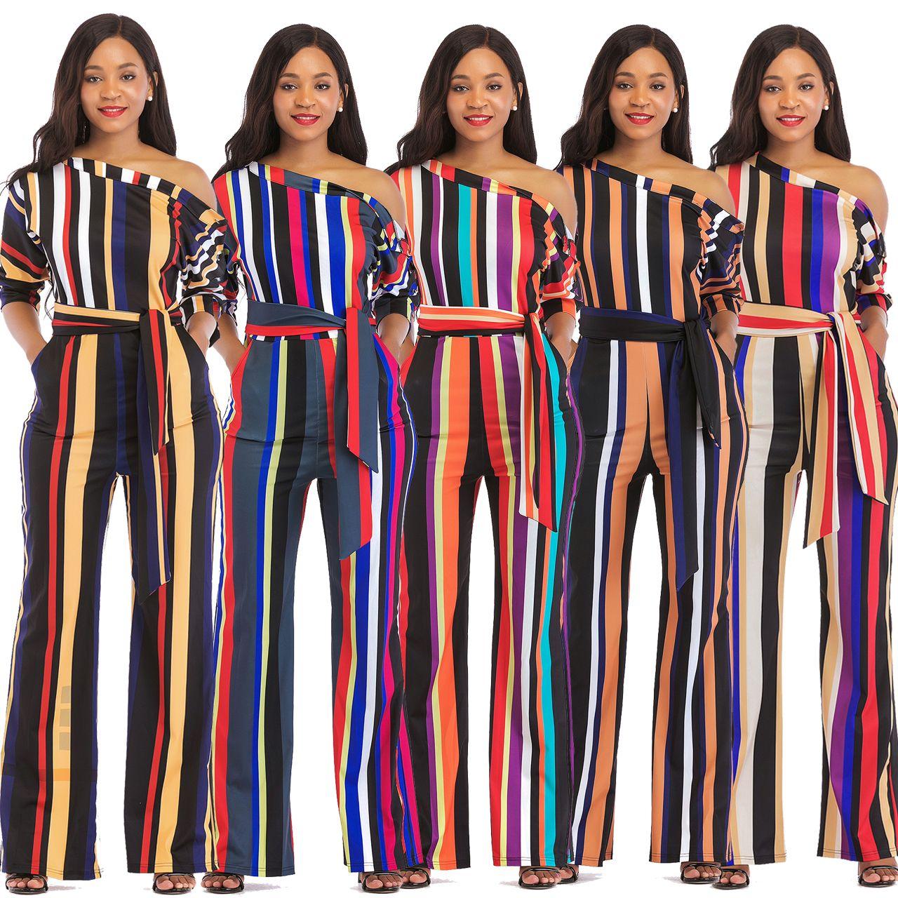 425883bac73 2019 2018 Striped Flower Print Sexy Summer Jumpsuit Romper Women Deep V  Neck Stripe Long Playsuit Boho Beach Jumpsuit Female Overalls M738 From  Hengda999