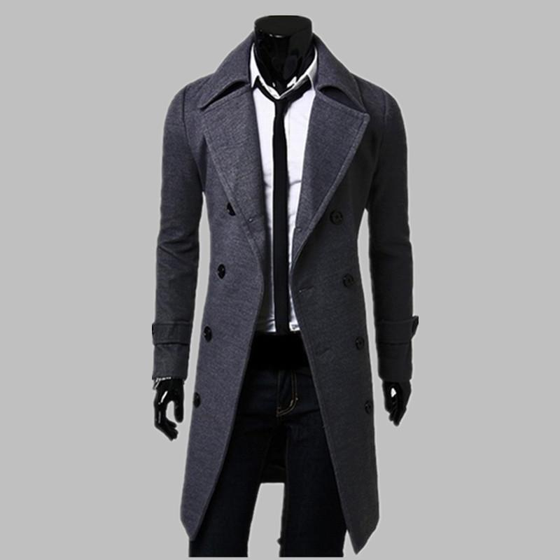 New Fashion Trench Coat Men Long Coat Winter  Mens Overcoat Double-Breasted Slim Fit Men Trench Coat Plus Size