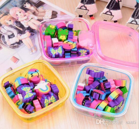 20Pcs set Kawaii Cute Rubber Eraser Kids School Supplies Stationery Set for Home Party Kids GIft Party Favors Girls