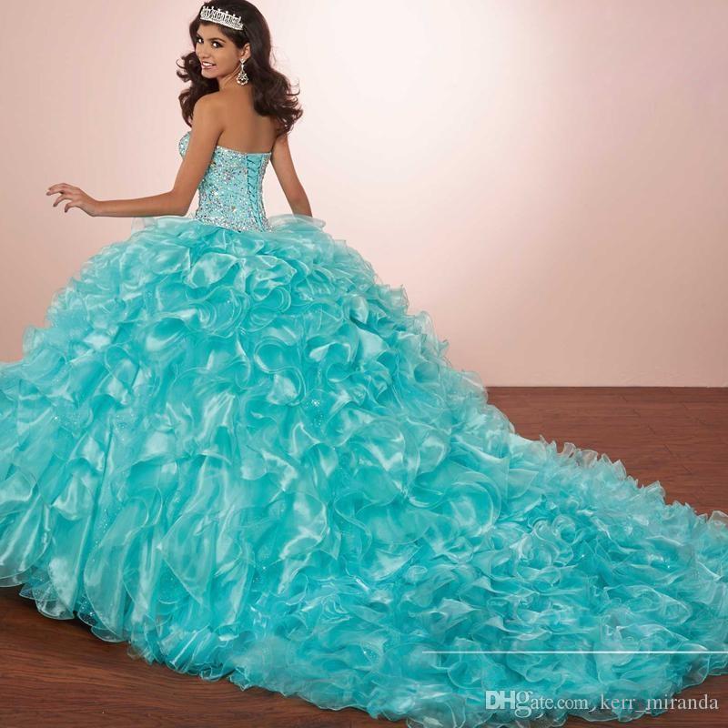 buy popular 5f335 dadff Masquerade Ballkleider Luxuskristalle Prinzessin Puffy Quinceanera Kleider  Türkis Rüschen Vestidos De 16 Kleider Mit Bolero Jacke