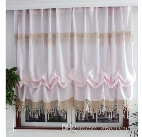 New Pastoral Style Adjustable Balloon Curtains For Living Room Beautiful Curtains With Lace For Window Treatment Curtain