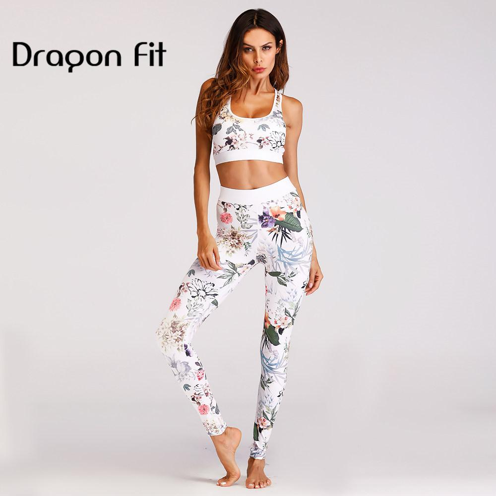 19061f3558376 Dragon Fit Printing Two Piece Set Crop Top Bra And Sport Leggings ...