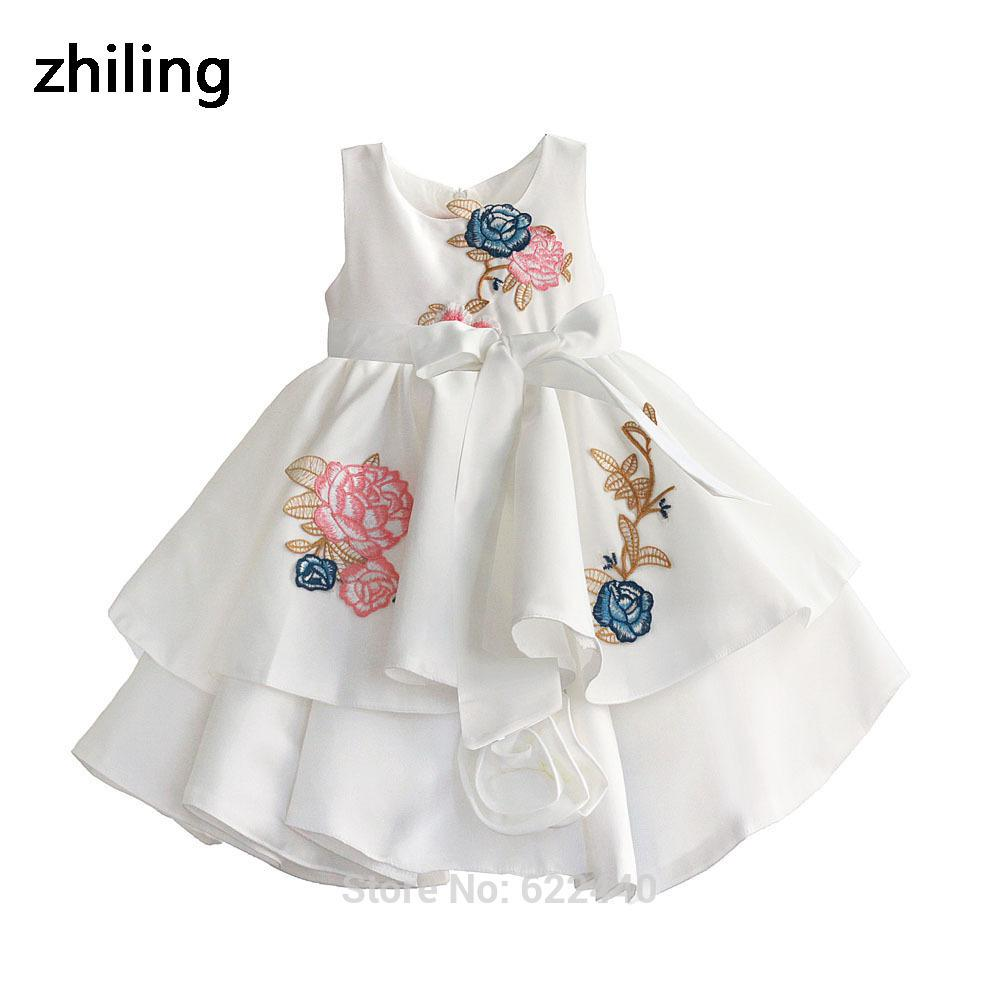 Pretty White Flower Girls Dresses First Commuion Dreses For Girls