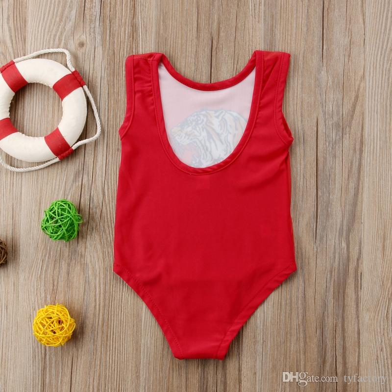 Лето дети девочки Тигр Красный купальники цельный купальники цветок животных плавательный костюм купальные платья пляж одежда