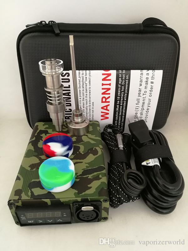 Kit unghie portatile al quarzo E Elettrico tampone unghie PID Controllo temperatura E Kit unghie Dab vaporizzatore di cera 14 18 MM Oil Rig Box Bong in vetro