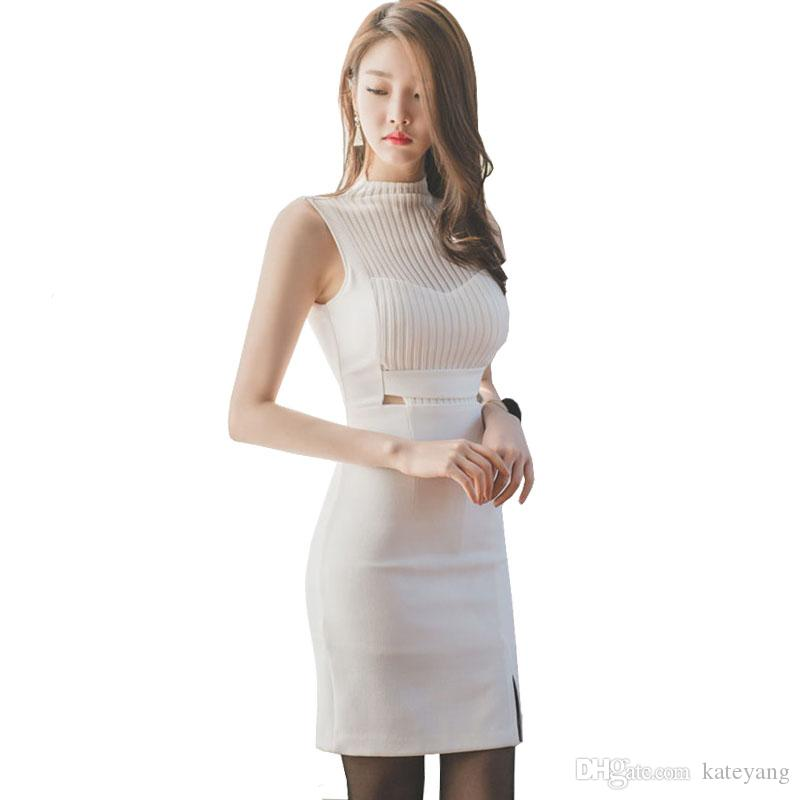 72b4193ff Korean Style Women Petite Dress Half High Neck Sleeveless Cut Out Sheer  Patchwork Pin Up Mini Bodycon Dress Vestidos Cortos White Floral Dress  Ladies ...