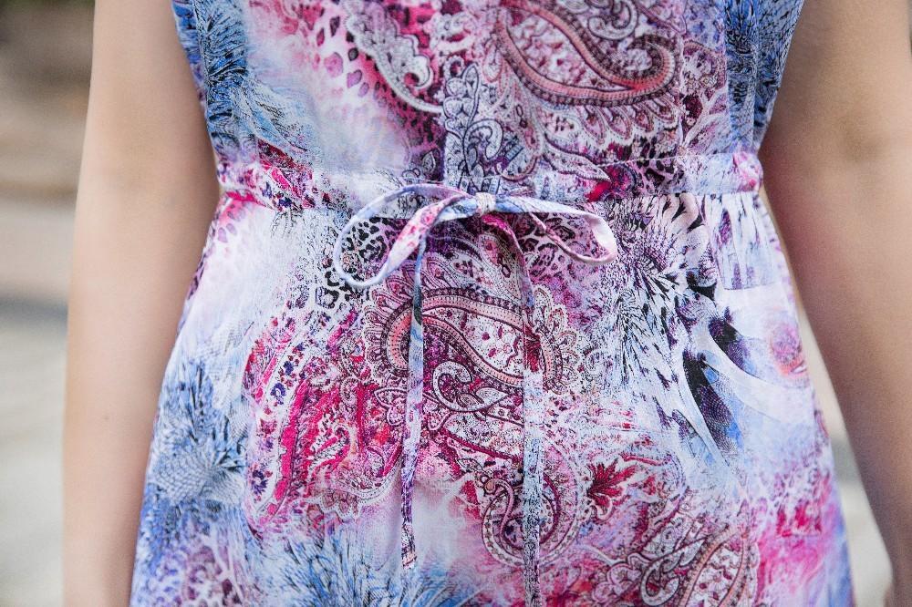 L-4XL 2018 Frauen Sommerkleider mittleren Alters Mode Print lose Kleid Casual Kurzarm Plus Größe lange Sommerkleid Vestidos