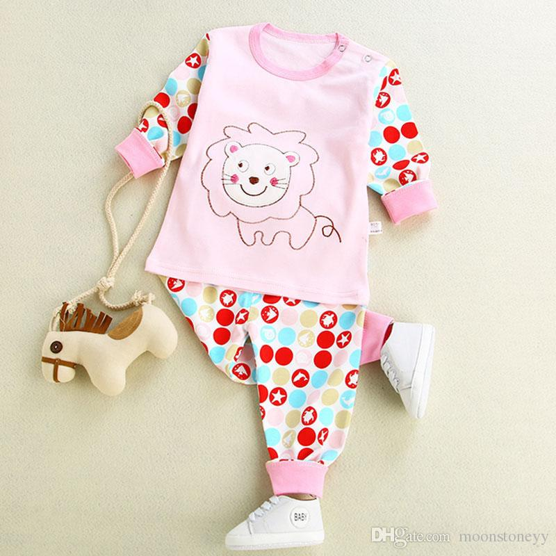 autumn long johns underwear spring cotton 98% clothes tops pants infant cute cartoon print for toddler kids home wearing