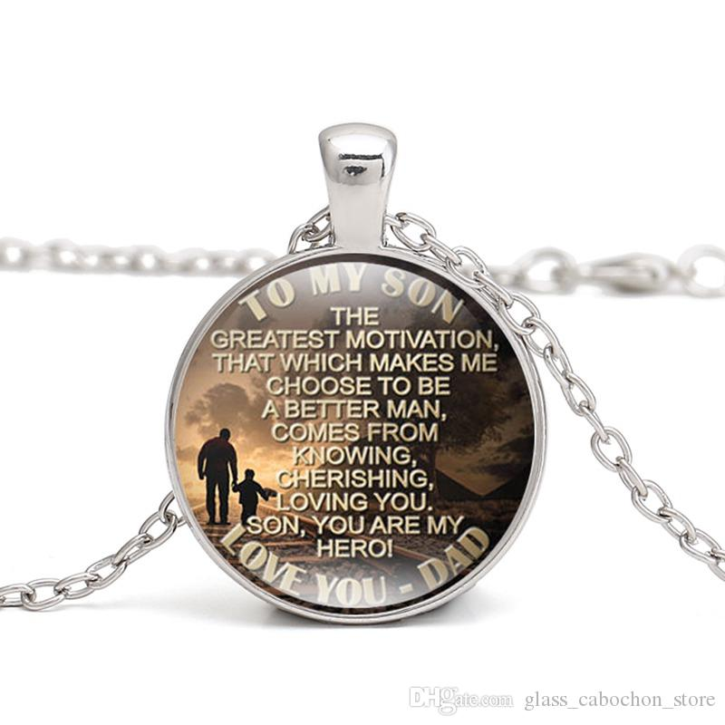 Wholesale To My Son Quote Silver Pendant Necklace Gift From Mom And