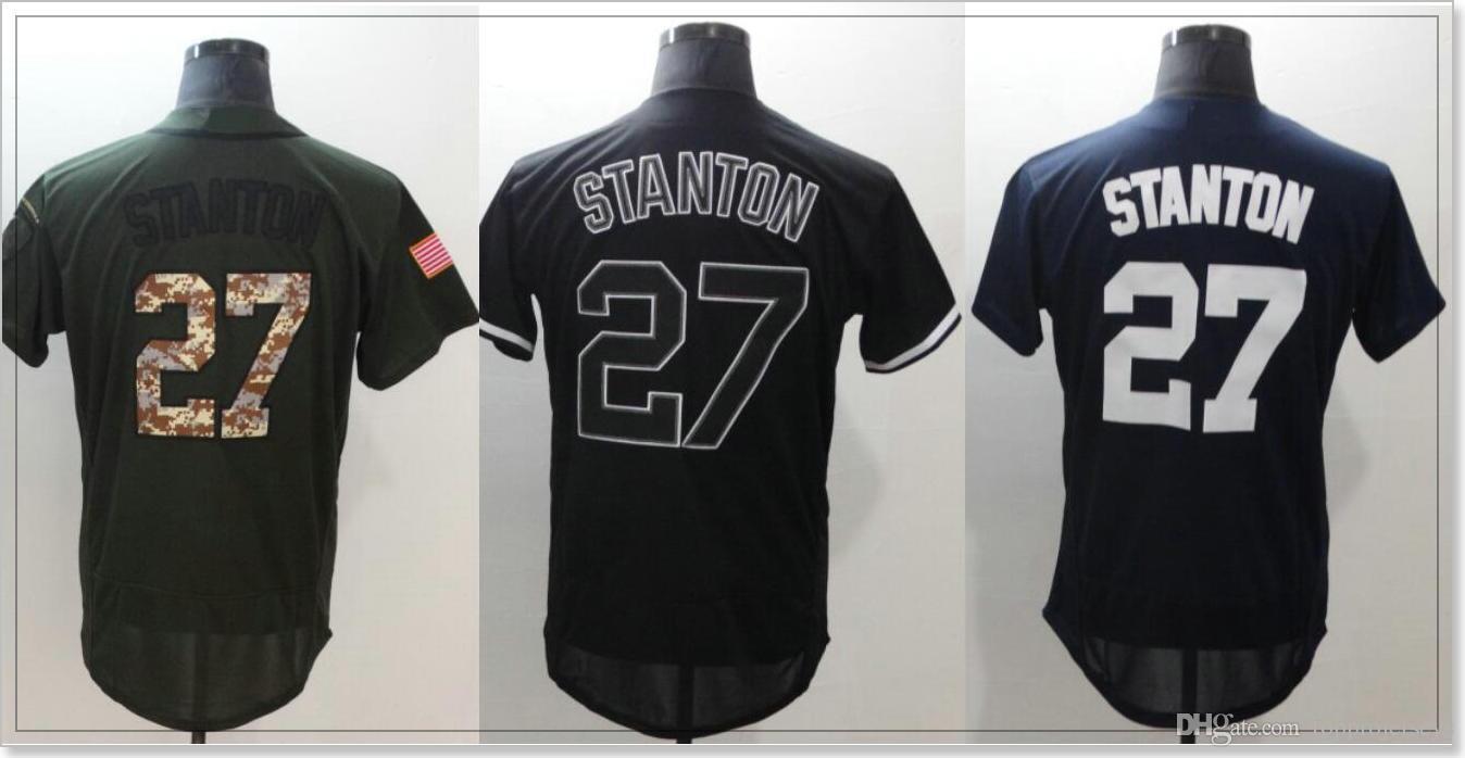 New York Team  27 Giancarlo Stanton Cheap Sports Shirts Mens Baseball Pro  Jerseys Uniforms Custom Stitched Embroidery Sz M XXXL On Sale UK 2019 From  ... d65675d72835