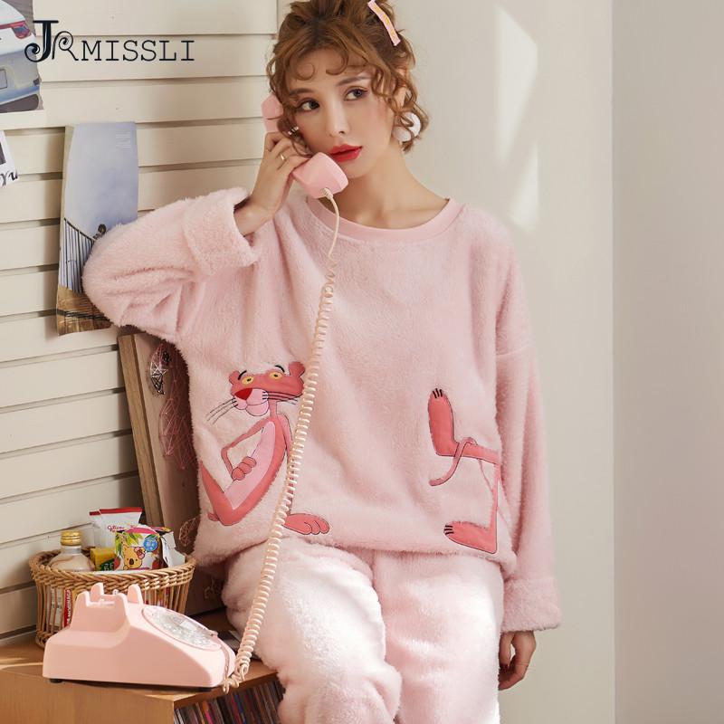 4629944ec0 Compre JRMISSLI Invierno Nueva Pijama Para Mujer Pink Animal Mujer Hogar  Ropa De Dormir Cálido De Franela Gruesa Pijamas Conjuntos De Ropa De Dormir  A ...