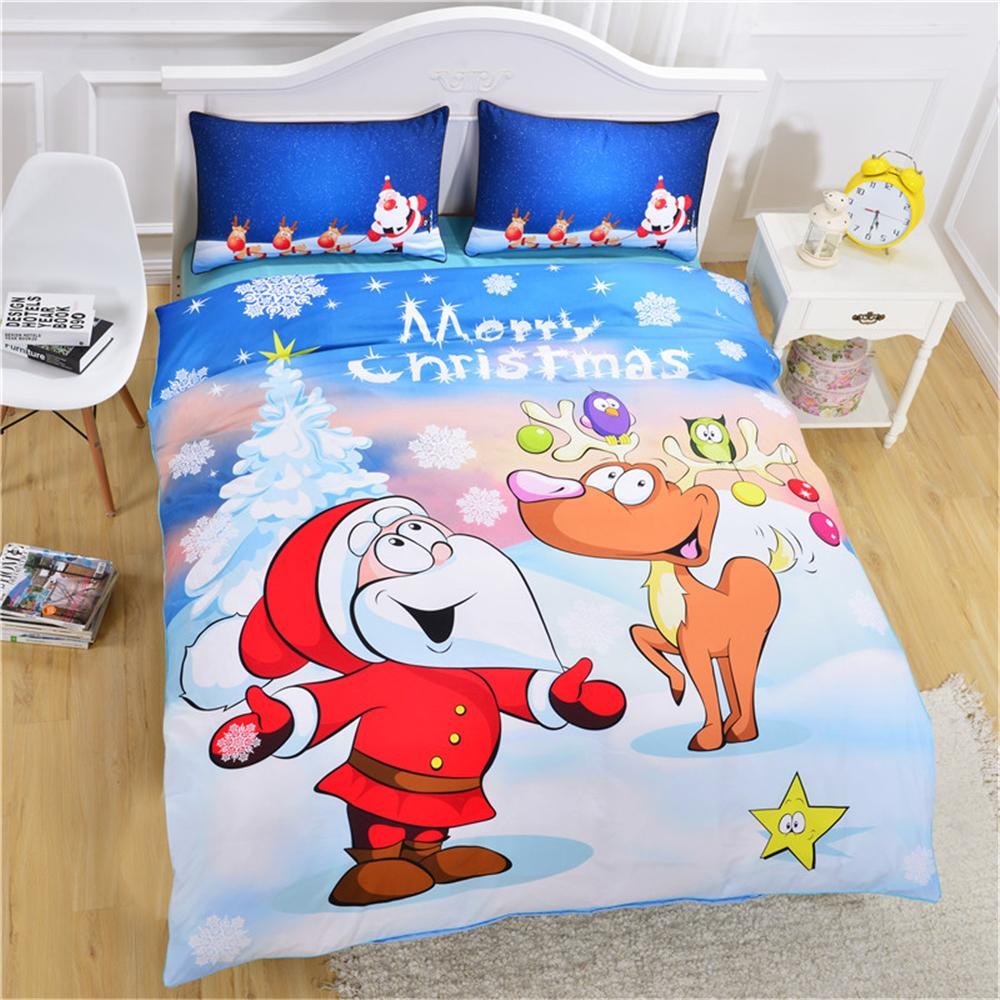 Merry Christmas Bedding Set 3d Pattern Santa Claus David\'S Deer ...